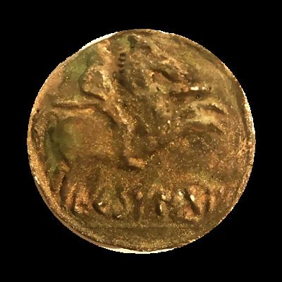 Moneda carpetana (imán). Reproducción en escayola y pintura policromada con retoques en oro