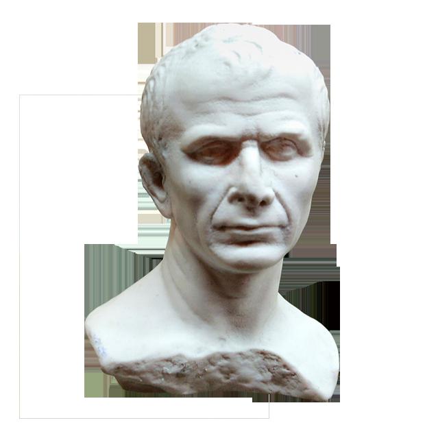 busto de julio césar reproducido en resina los viajeros del tiempo