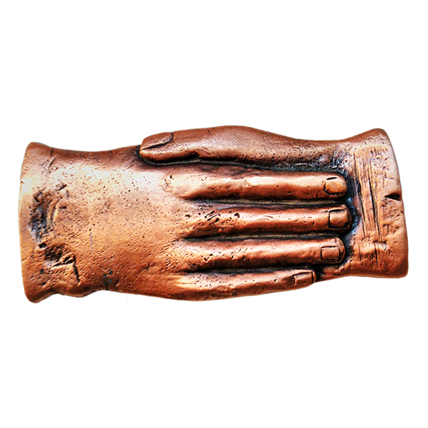 Tésera manos hispitalidad cobre