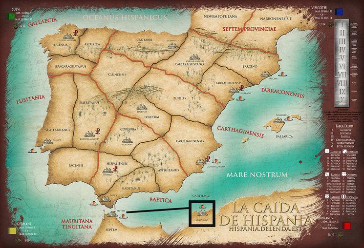 la caída de Hispania, tablero