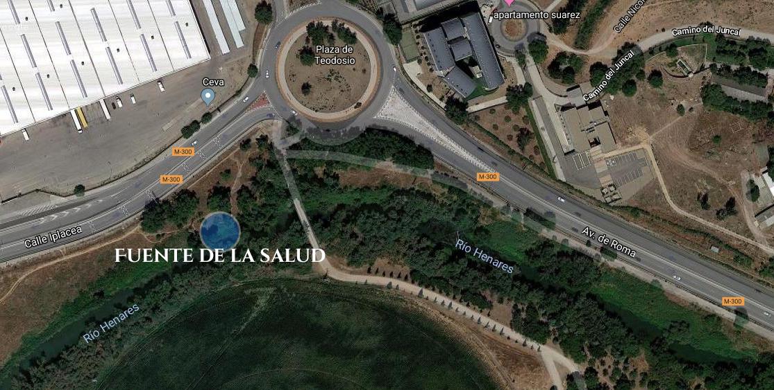 Localización fuente de la salud junto al rio Henares