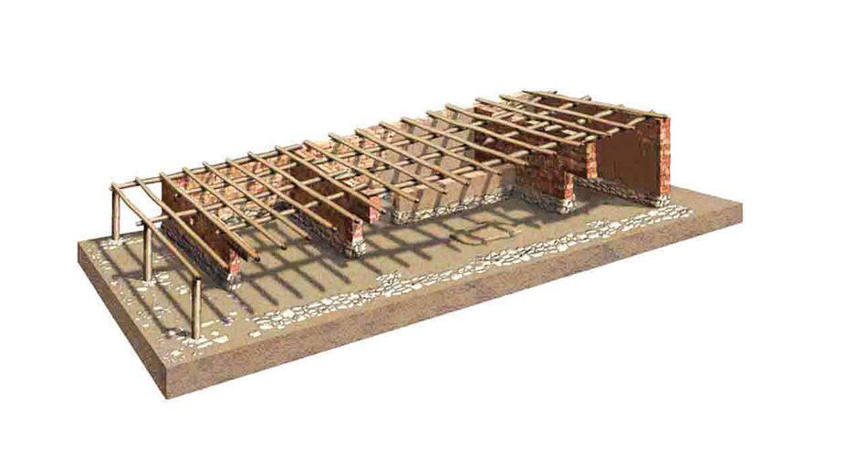Sobre el muro de mampostería se colocaban postes de madera unidos con adobes y todo ello enlucido con barro que en algunos casos pudiera estar coloreado. Sobre ellas se colocaba un entramado de vigas de madera.