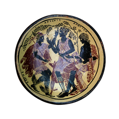 Plato griego con escena mitológica