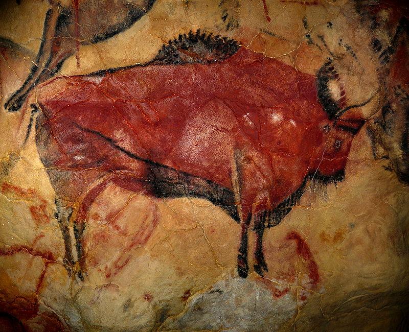 Bisonte estepario (Bison priscus) Pintura rupestre en Altamira, España